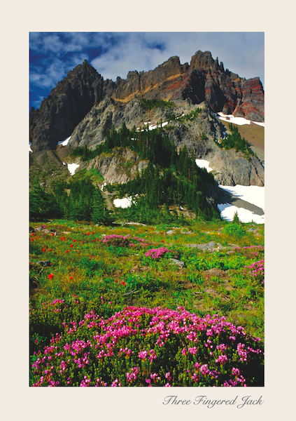 Three fingered Jack Greeting Card as seen from Upper Canyon Creek Meadow.