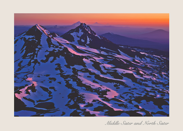Cascade Mountain sunrise as seen from the summit of Central Oregon's South Sister.