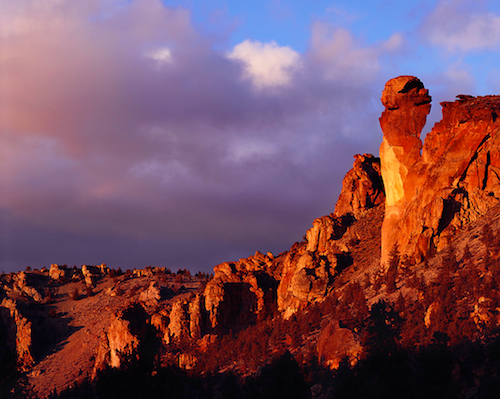 "Smith Rock State Park's ""Monkey Face"" at sunset"